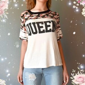 """""""Queen"""" White and Floral Tee Shirt"""
